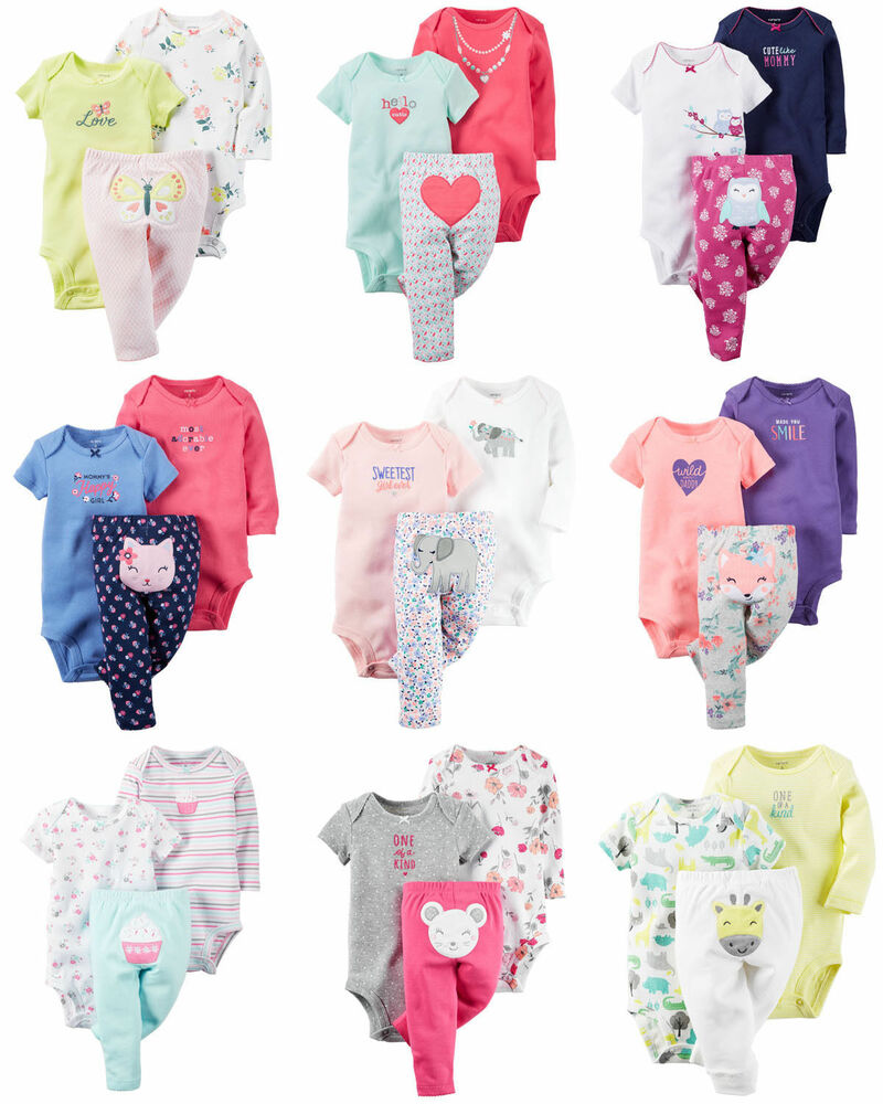 New Newborn Pants Bodysuit 3 6 9 12 18 24 Months Set Baby
