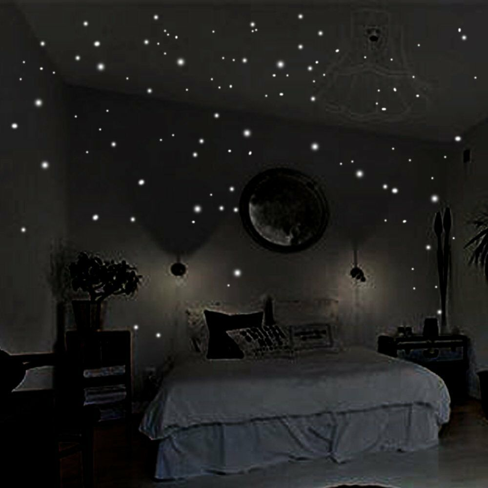 400pcs glow in the dark star stickers round dot luminous wall stickers ebay - Stickers pour plafond ...