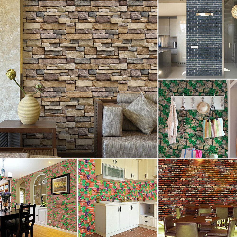 3d wall paper brick stone rustic effect self adhesive wall for Adhesive decoration