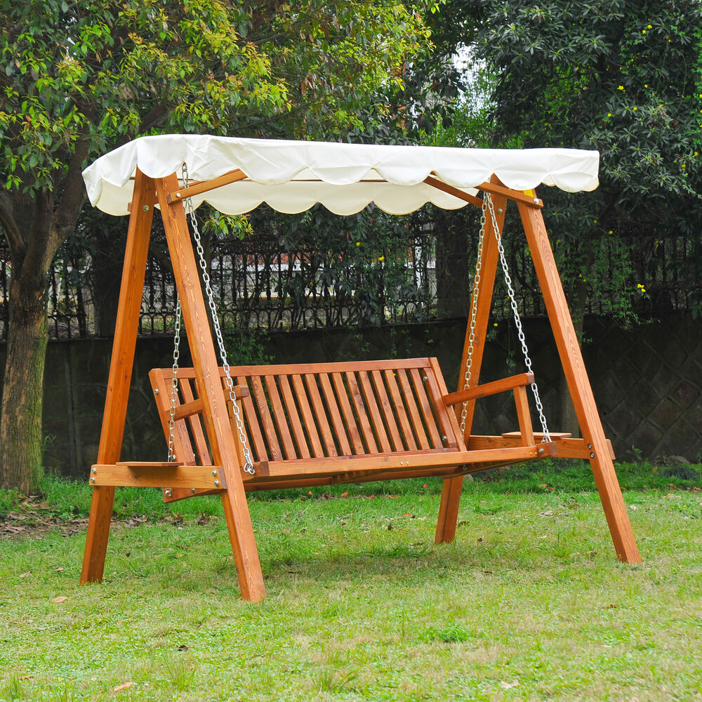 Outsunny Garden 3 Seater Swing Chair Rocking Wooden ...