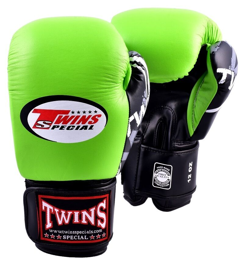 Shiv Naresh Teens Boxing Gloves 12oz: New Twins Special Fancy Green Muay Thai Boxing Gloves BGVL