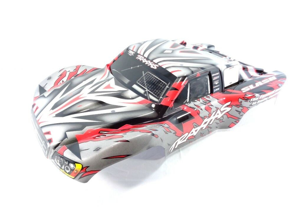 new traxxas slash 1 10 2wd 4wd red white black painted body shell with decals ebay. Black Bedroom Furniture Sets. Home Design Ideas