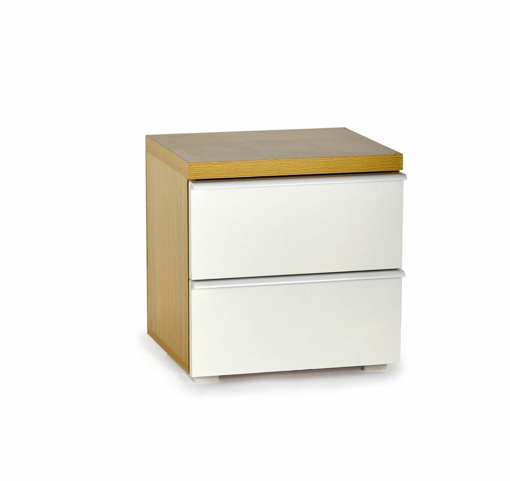 Bedside Cabinet Side Table With 2 Drawers White Oak Effect Bedroom Furniture