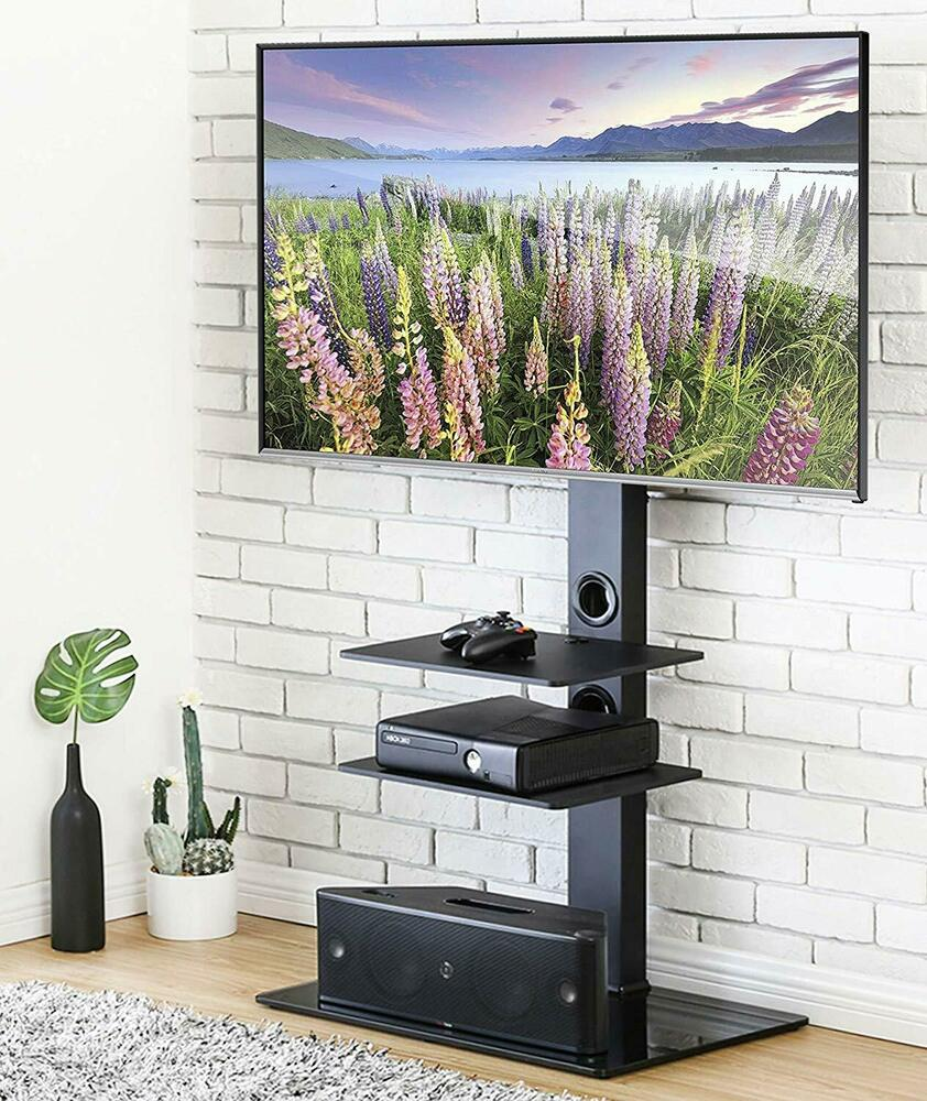 Black Tv Stand With Mount Bracket For 32 40 42 50 55 Inch Flat