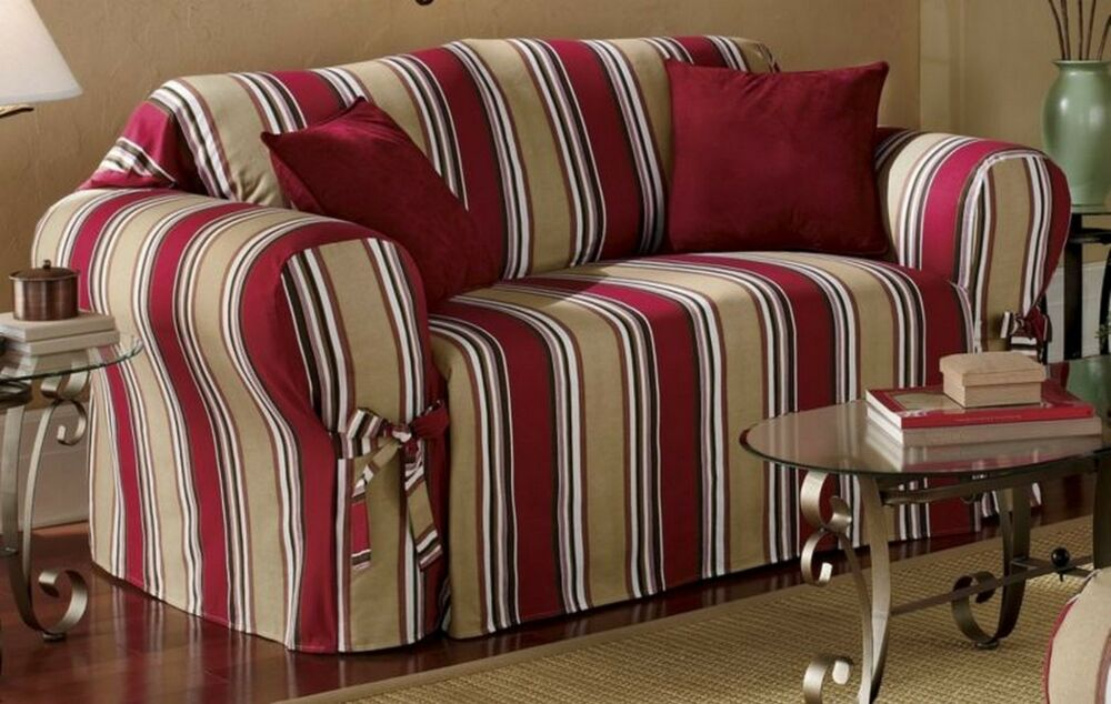 Red Khaki Stripe All Cotton Sofa Couch Loveseat Arm Chair