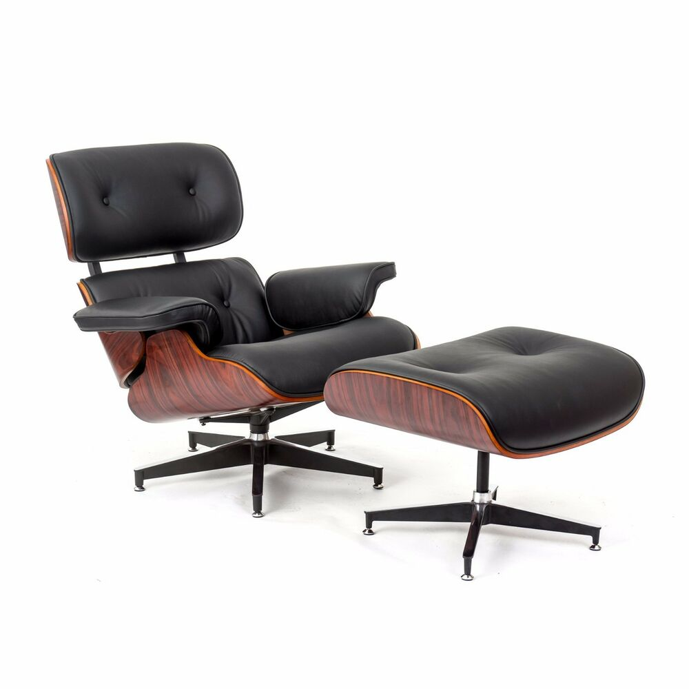 ebb eames style chair and ottoman black leather rose wood ebay. Black Bedroom Furniture Sets. Home Design Ideas