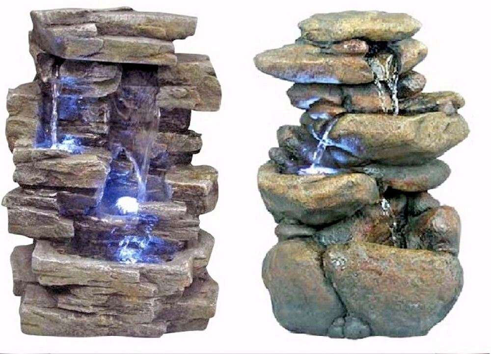 Outdoor indoor garden water fountain waterfall stone rock for Garden rock waterfall fountain