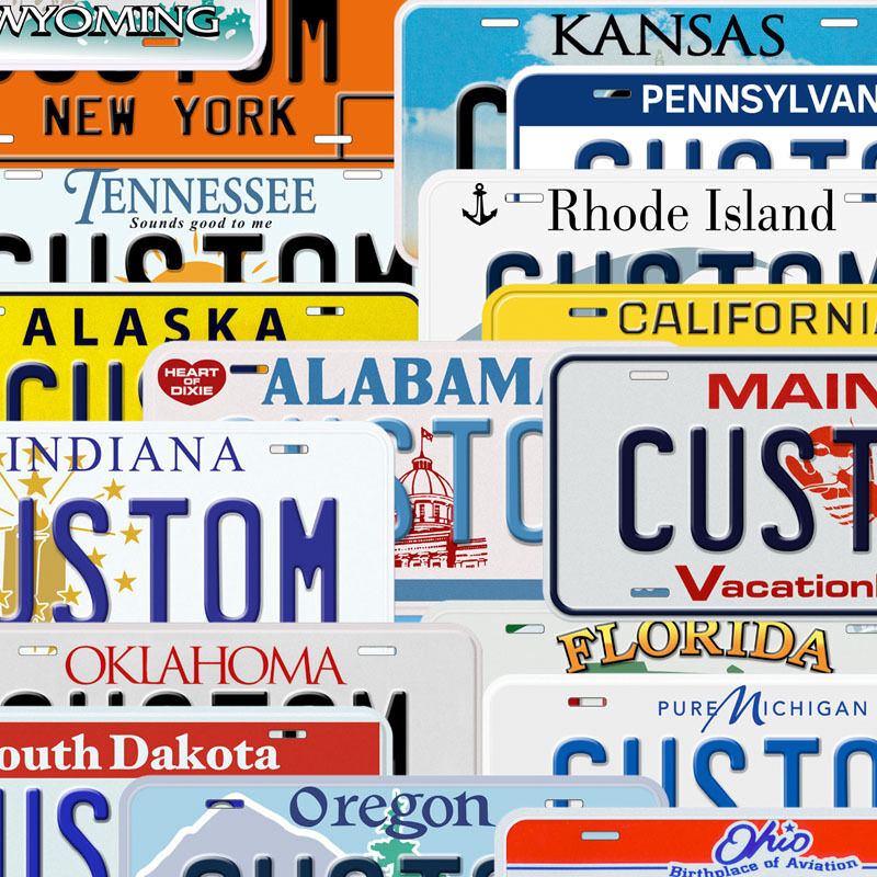 USA State Custom Aluminum Any Name Text Number Novelty Car