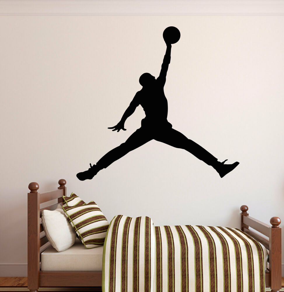MICHAEL JORDAN JUMPMAN Basketball Wall Decal Sticker Bedroom Sports Decor