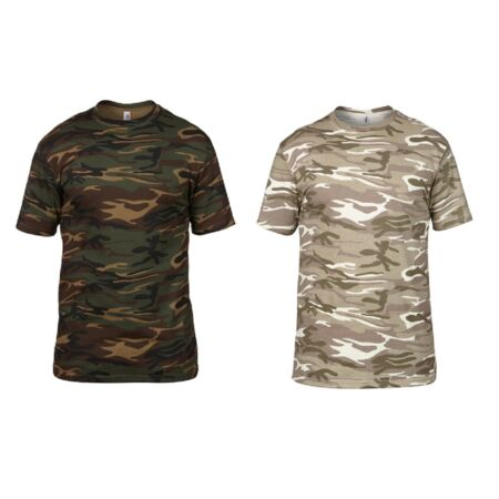 img-Men's 100% Cotton Camouflage Camo Army Short Sleeve T Shirt Top Hunting Shooting