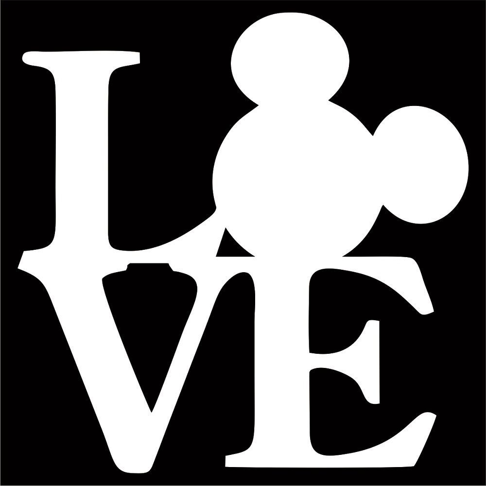 Details about mickey mouse love vinyl decal sticker choose color size disney minnie