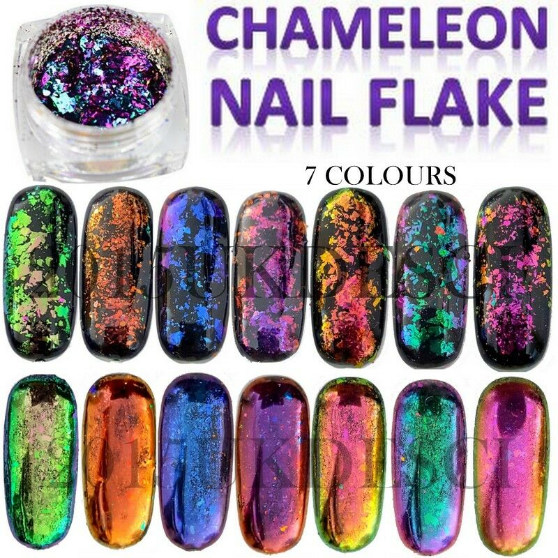 8 Colours Chameleon Nail Flake Glitter Powder Broken Glass