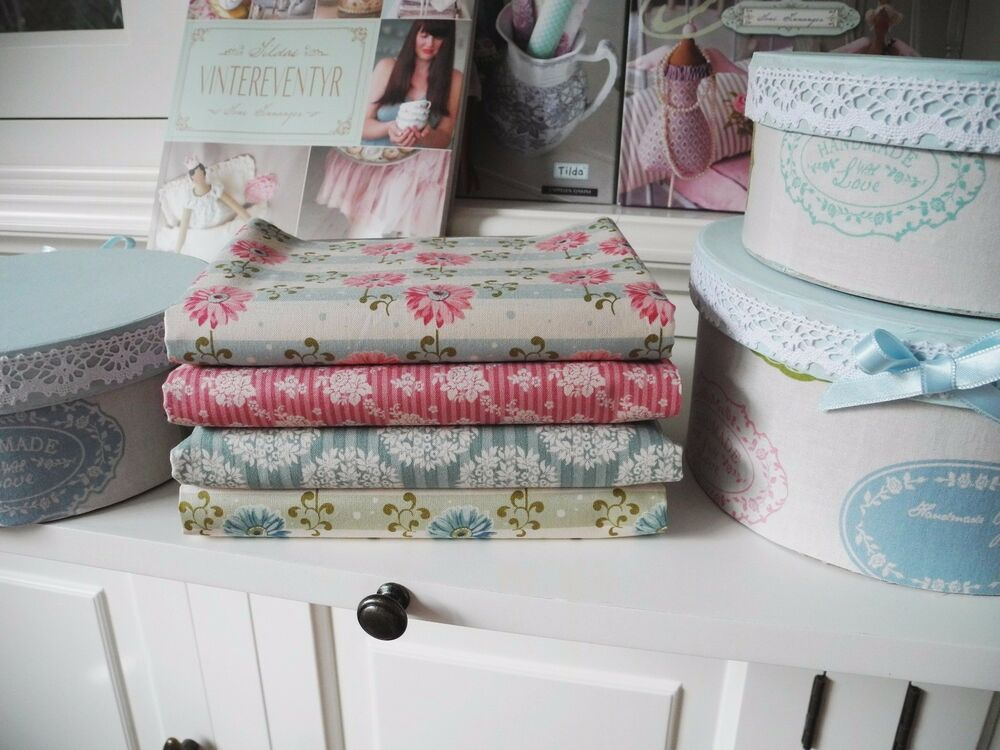 4x stoffe 54x25cm tilda blau blume rosen stoffpaket stoffe patchwork shabby chic ebay. Black Bedroom Furniture Sets. Home Design Ideas