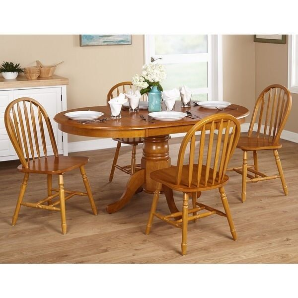 Elegant dining set kitchen table 5 piece oak country for Oak farmhouse kitchen table and chairs