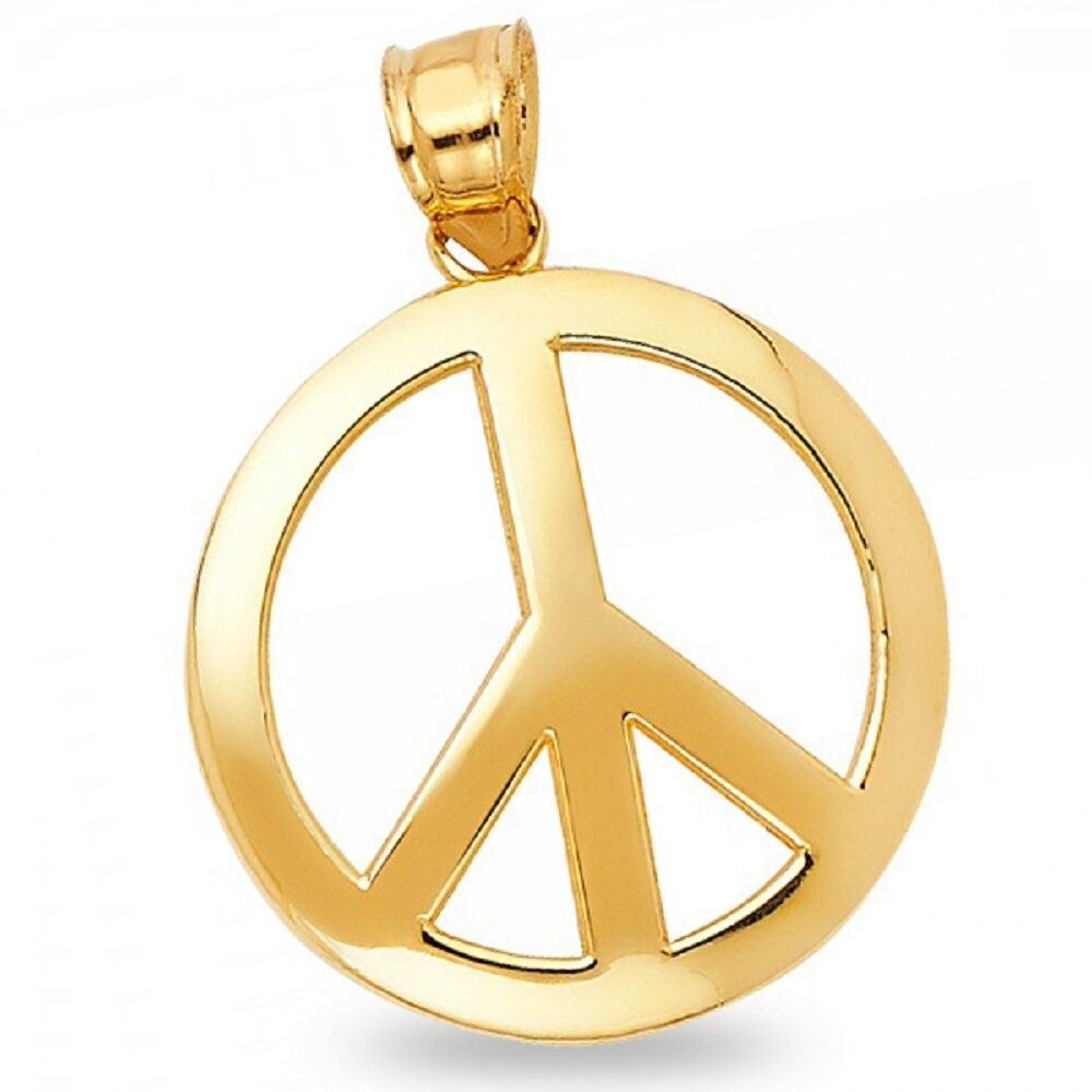 Solid 14k yellow gold peace sign pendant peace symbol charm round solid 14k yellow gold peace sign pendant peace symbol charm round design aloadofball Images