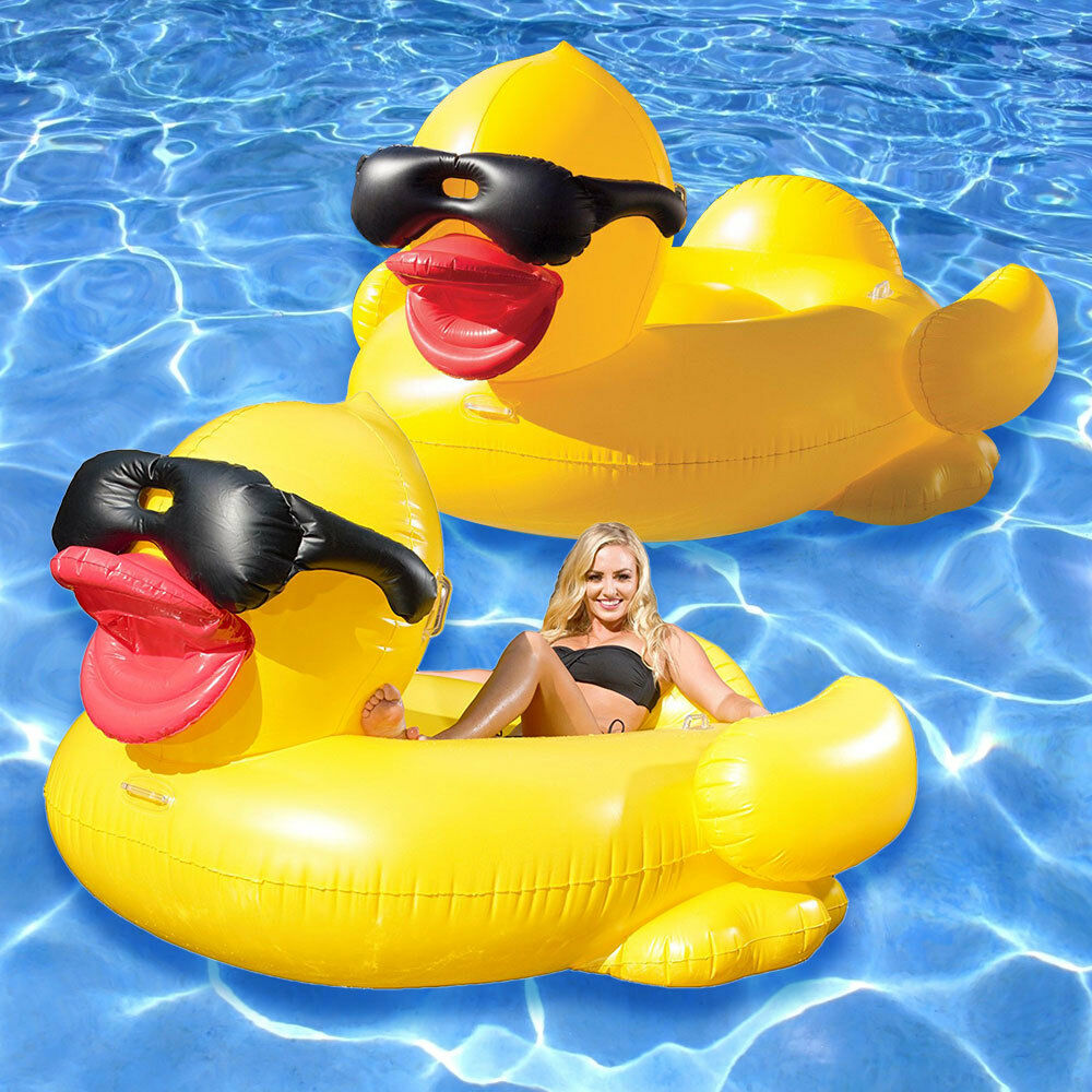Game Giant Riding Derby Duck Swimming Pool Inflatable Float Lounge 2 Pack Ebay