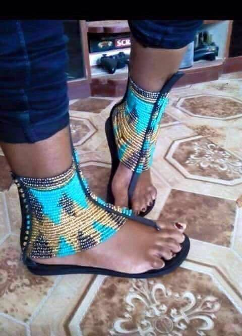African Beaded Flat Handmade Leather Sandals Ebay