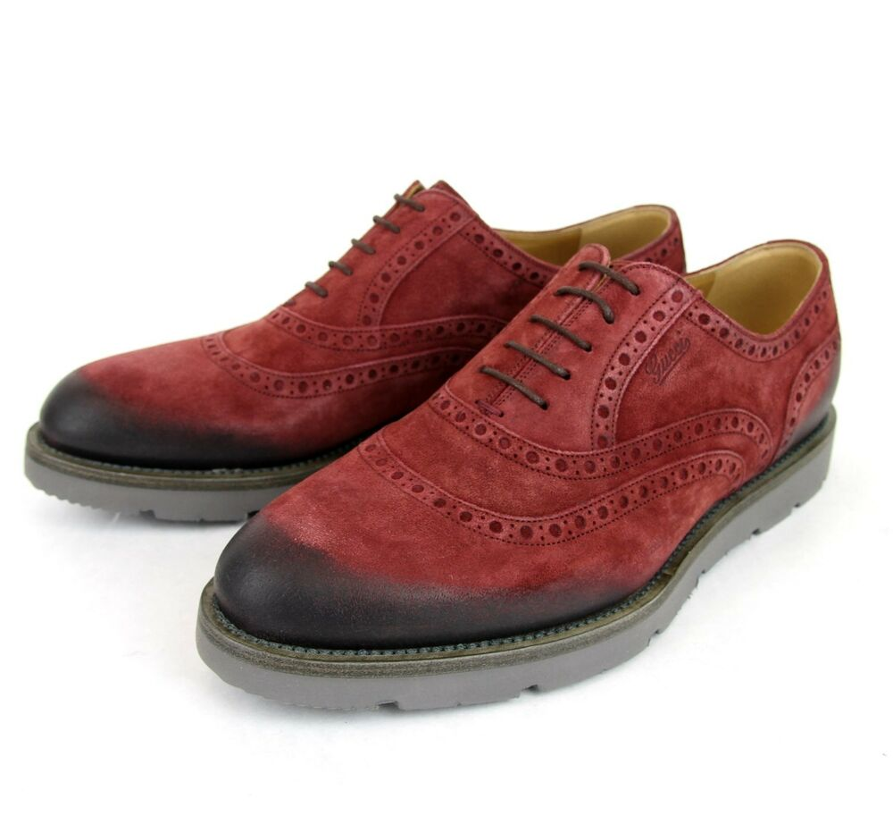 695 New Gucci Men S Red Suede Dress Shoes Oxford W Logo 9