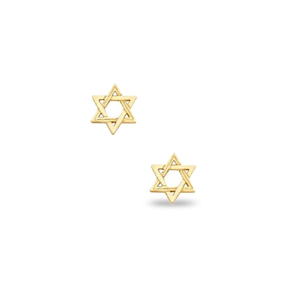225790e65 Jewish Star Stud Earrings 14k Yellow Gold Star Of David Post Studs Fancy  Small