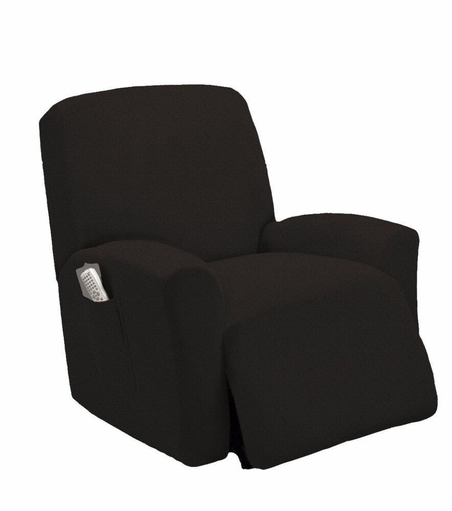 Stretch Fit Black Recliner Slipcover Chair Slip Cover