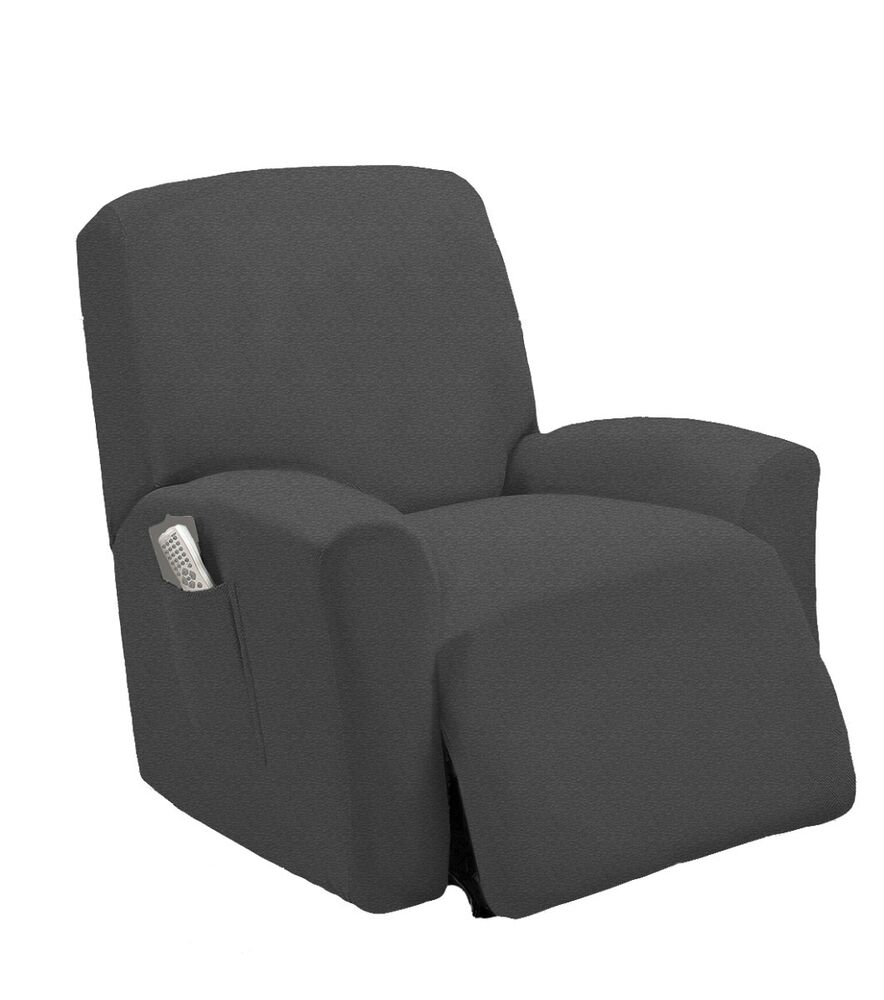 Stretch Fit Gray Recliner Slipcover Chair Slip Cover Couch