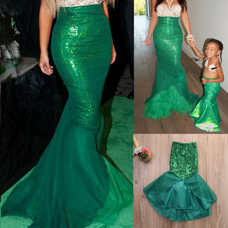 Women Kids Mermaid Fish Tail Skirt Party Maxi Fancy