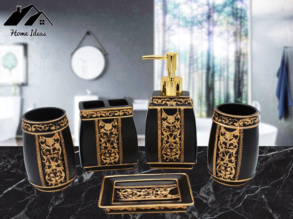 Luxury Roman Gold Black 5 Piece Bathroom Accessory Set Soap Dish Tumbler Hold