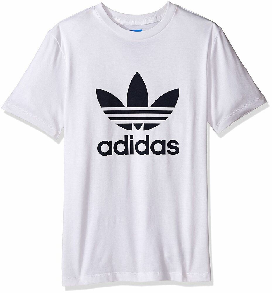 Adidas originals trefoil t shirt tee white crewneck short for Adidas long sleeve t shirt with trefoil logo