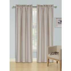 2 PANELS ROD POCKET FOAM LINED THERMAL BLACKOUT WINDOW CURTAIN DRAPE R64 TAUPE