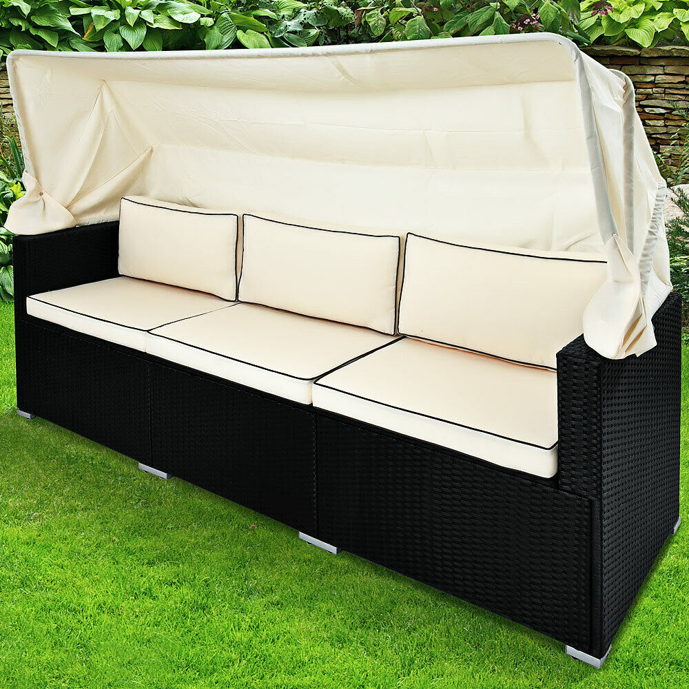 poly rattan lounge sofa bank couch dach gartenliege gartenlounge liege garten ebay. Black Bedroom Furniture Sets. Home Design Ideas