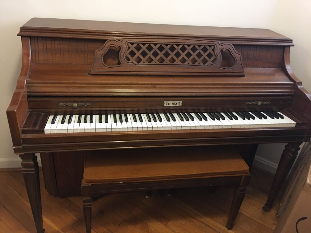 Kimball console upright piano with matching bench walnut - Costo ascensore interno 1 piano ...