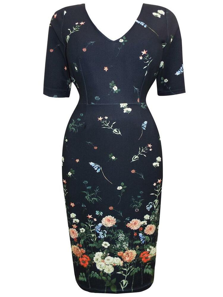 Details about EVANS (EX) -NEW BLACK MULTI FLORAL BORDER PRINT DRESS - PLUS  SIZES 14 - 20 1eaf4f6a2