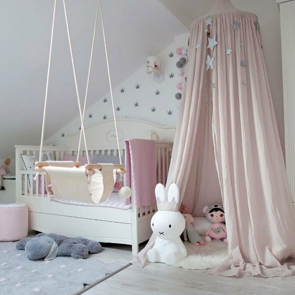 betthimmel baldachin aus baumwolle leinwand deko baldachin f r kinderzimmer baby ebay. Black Bedroom Furniture Sets. Home Design Ideas