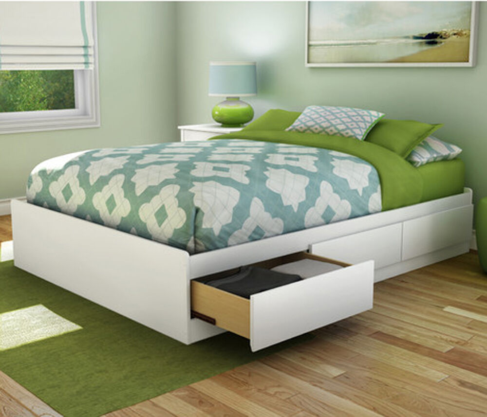 Platform bed frame full size with 3 storage drawers wood furniture bedroom white ebay for Bedroom set with storage drawers