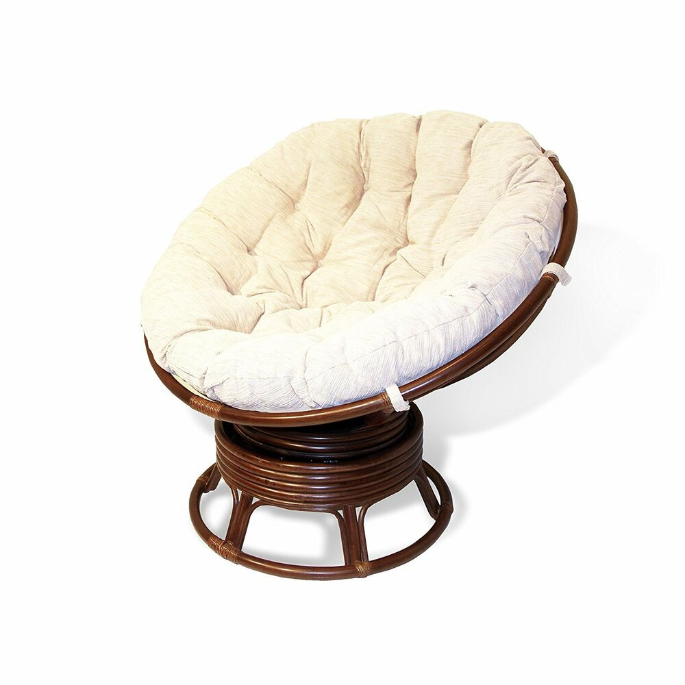 Handmade Rattan Wicker Round Papasan Swivel Rocking Chair