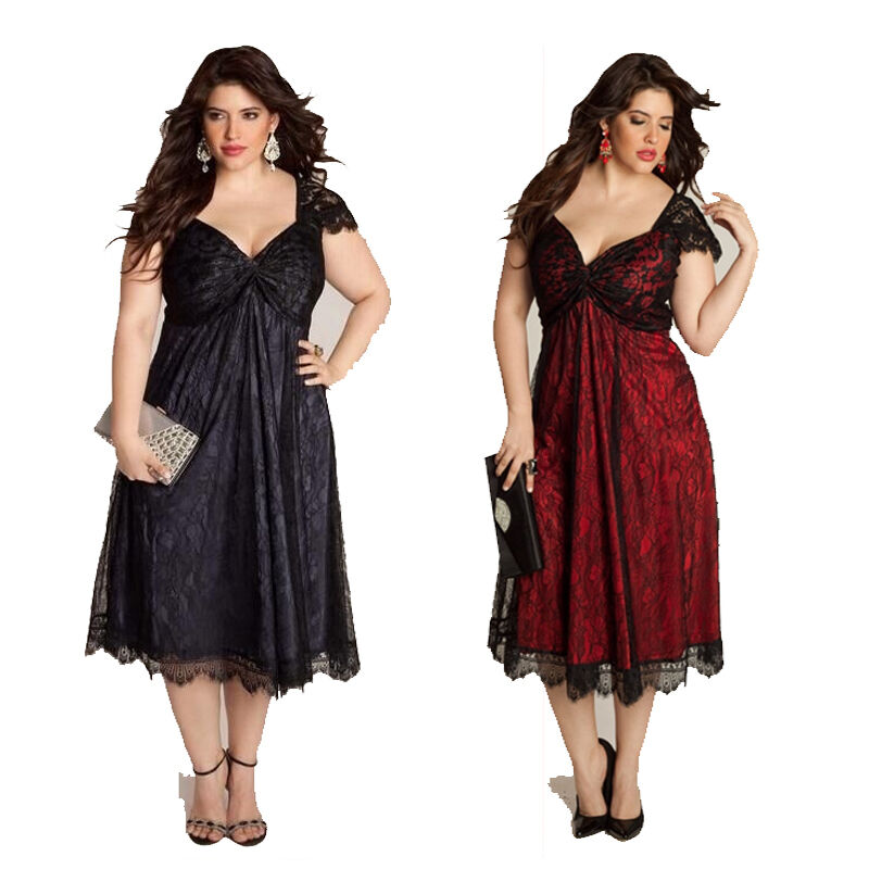 Women Sexy V-Neck Lace Dress Loose Casual Plus Size GOTHIC ...