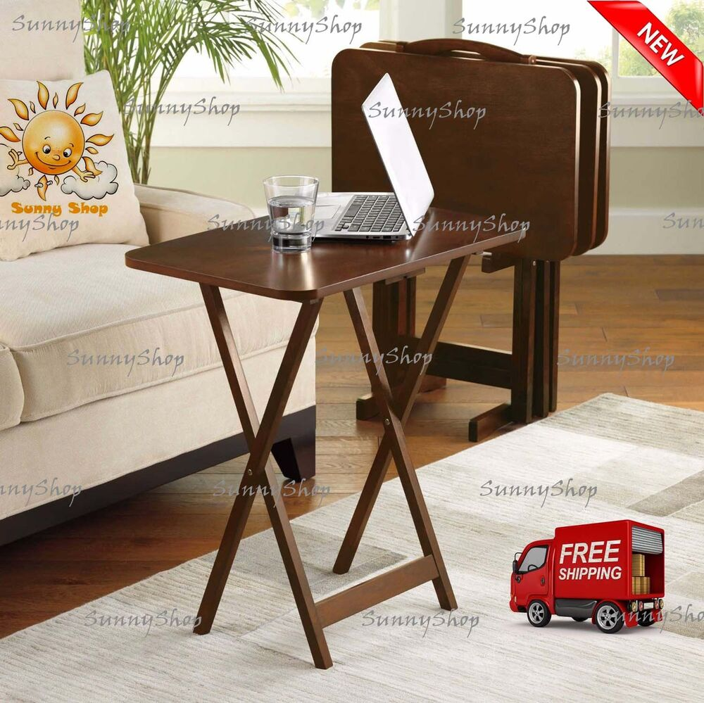 5 piece tray table set folding wood tv game snack dinner for 52 folding table