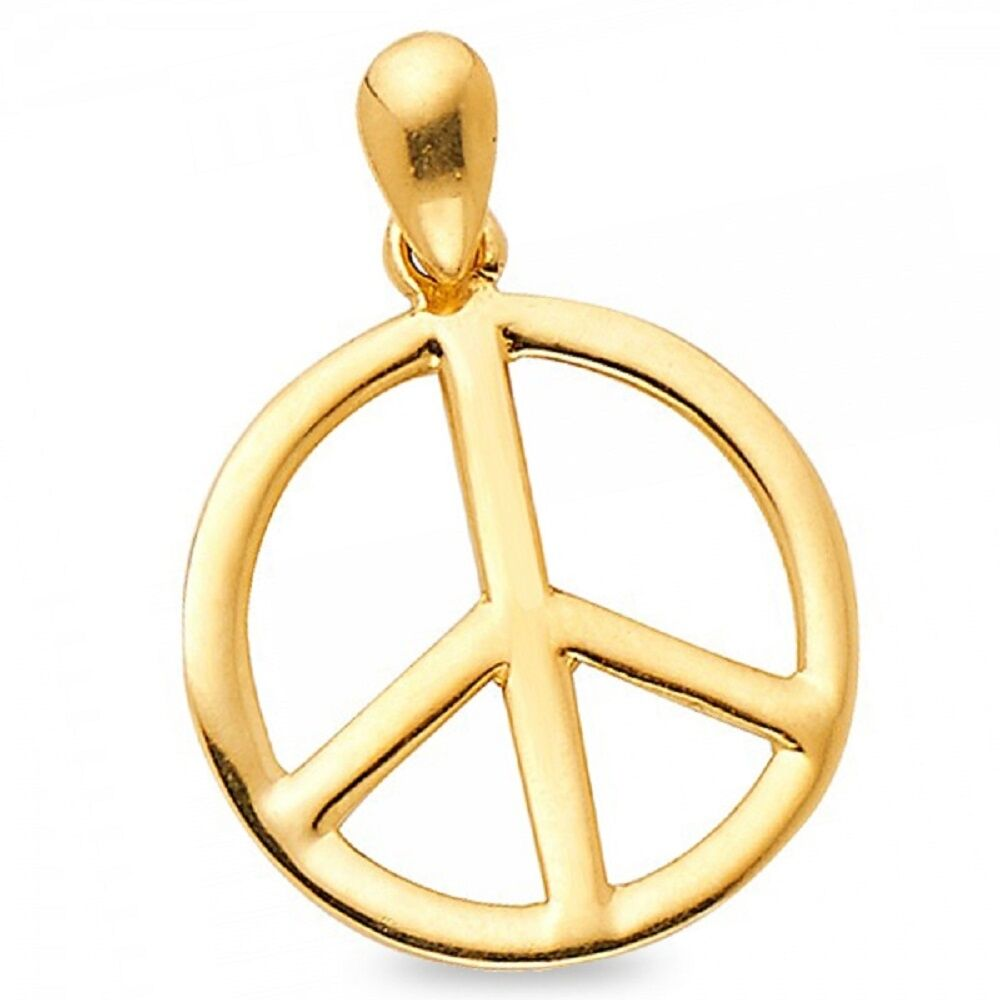 Peace sign pendant solid 14k yellow gold convex peace symbol charm peace sign pendant solid 14k yellow gold convex peace symbol charm polished buycottarizona Gallery