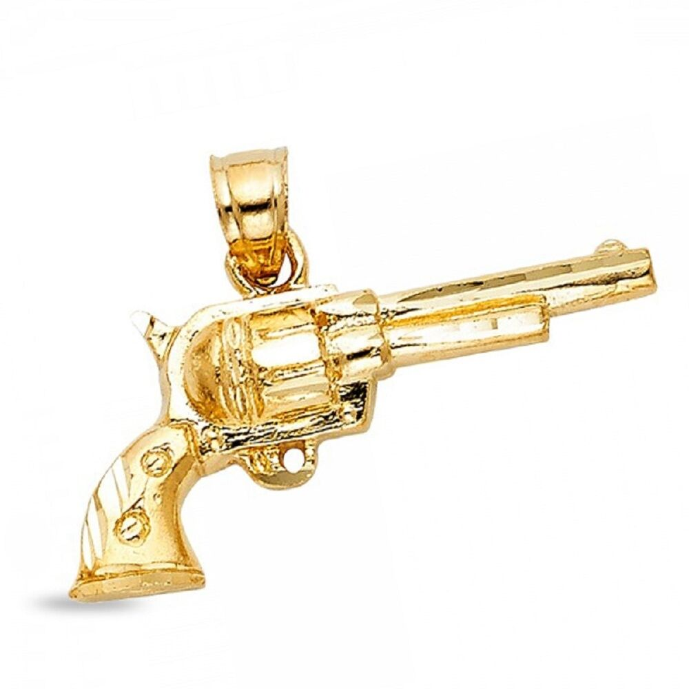 Solid 14k yellow gold pistol gun pendant long barrel colt revolver solid 14k yellow gold pistol gun pendant long barrel colt revolver charm fancy aloadofball Image collections