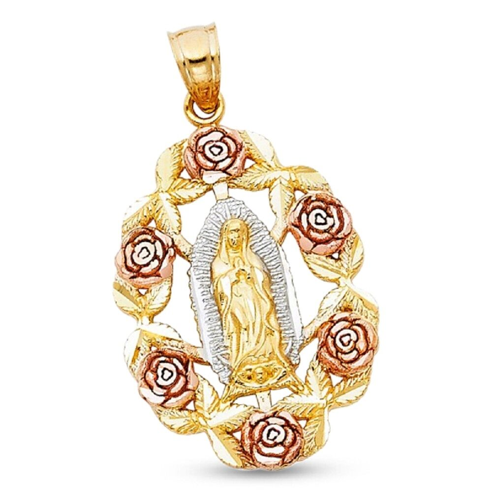 14k yellow white rose gold virgin mary rose pendant guadalupe 14k yellow white rose gold virgin mary rose pendant guadalupe medallion charm aloadofball Choice Image