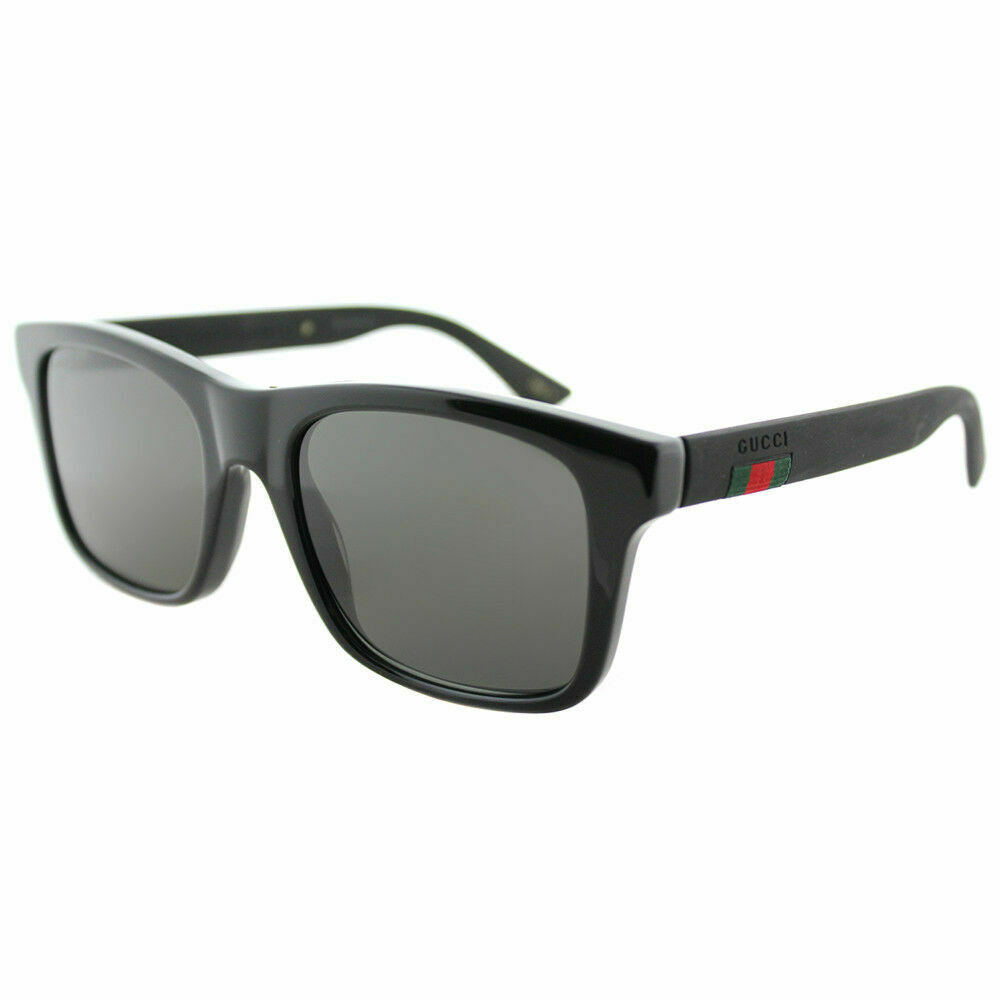 54abc23548 Details about New Authentic Gucci GG0008S 002 Black Plastic Sunglasses Grey  Polarized Lens