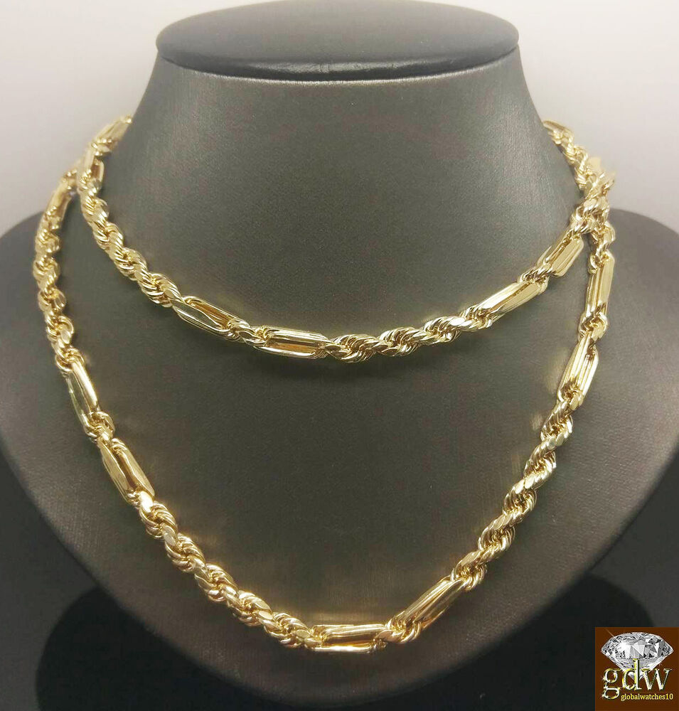 Real 10k Yellow Gold Milano Rope Chain Necklace 6mm 22 Quot 30 Quot Cuban Franco Palm N Ebay