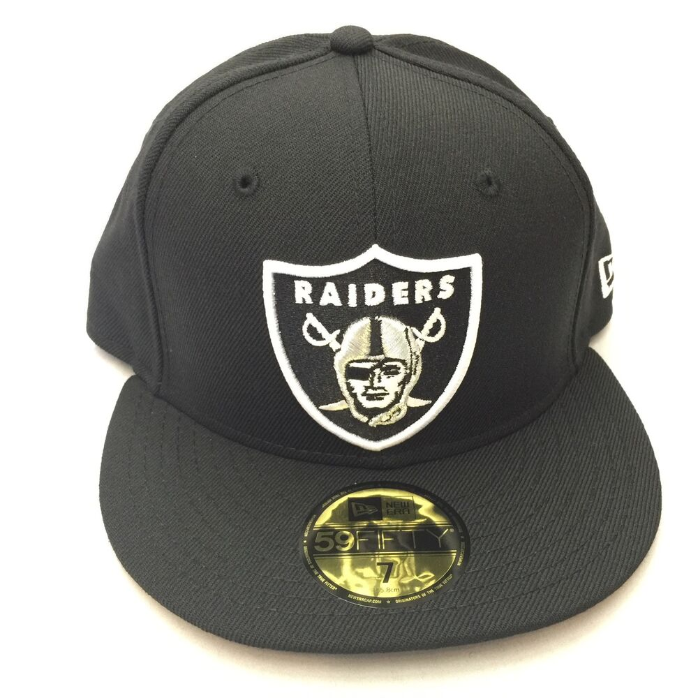 644a7be7276f5f Details about Oakland Raiders New Era 59Fifty Fitted NFL Black Hat Cap