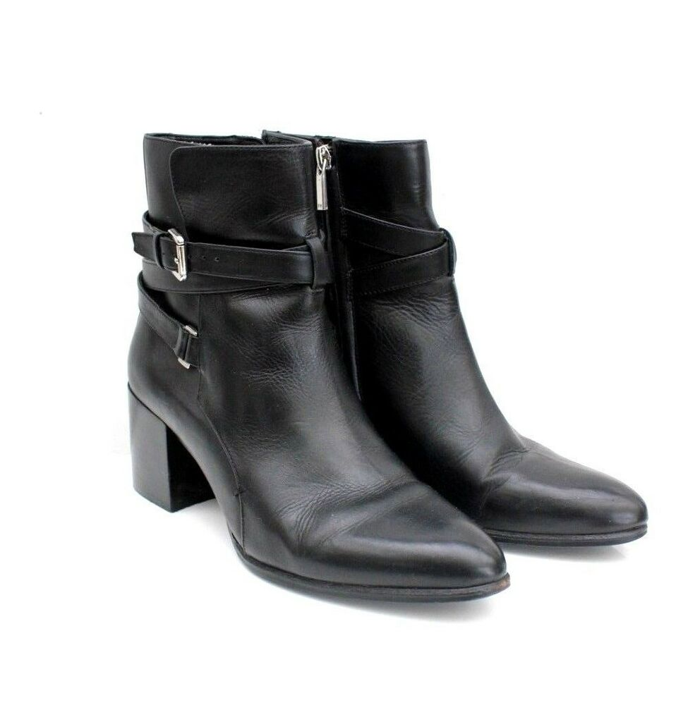 640fe83a545 Karen Millen Black Buckle Leather Ankle Riding Dress Shoes Boots 3 36 to 8  41