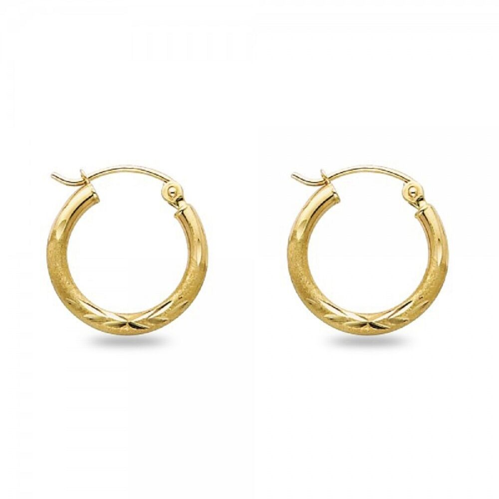 yellow solid rose itm gold earrings hoops s small round huggie cut diamond white