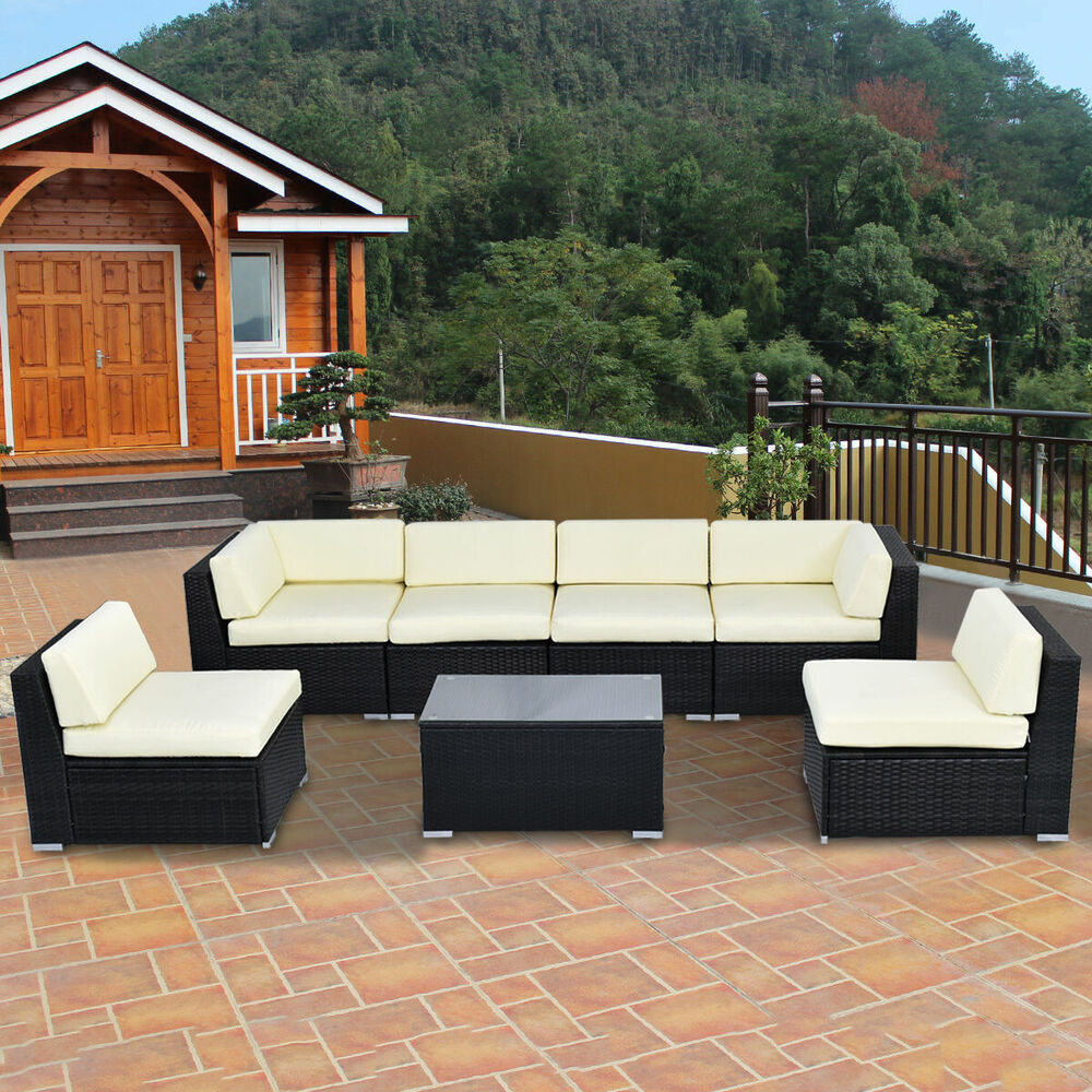 7 Pcs Outdoor Patio Sofa Set Sectional Furniture Black Pe