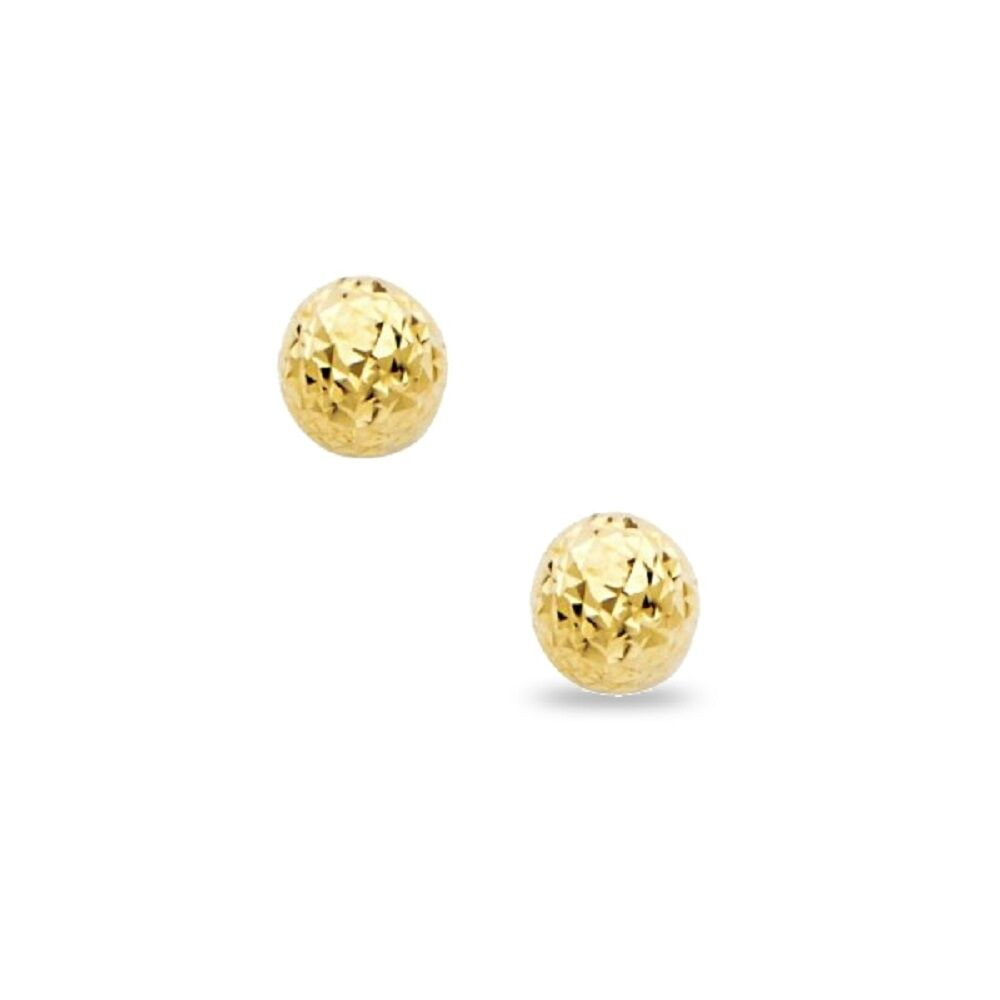 Small Ball Stud Earrings Solid 14k Yellow Gold Round Diamond Cut Studs Tiny