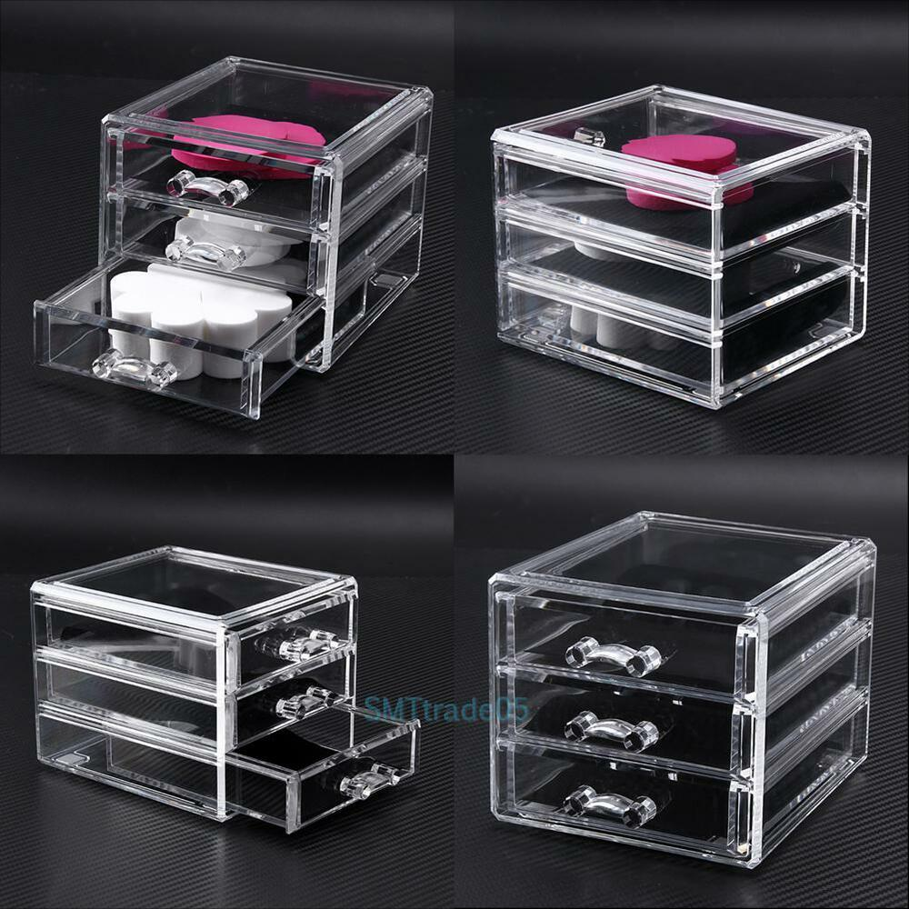 acrylic cosmetic drawer makeup organizer holder jewelry. Black Bedroom Furniture Sets. Home Design Ideas