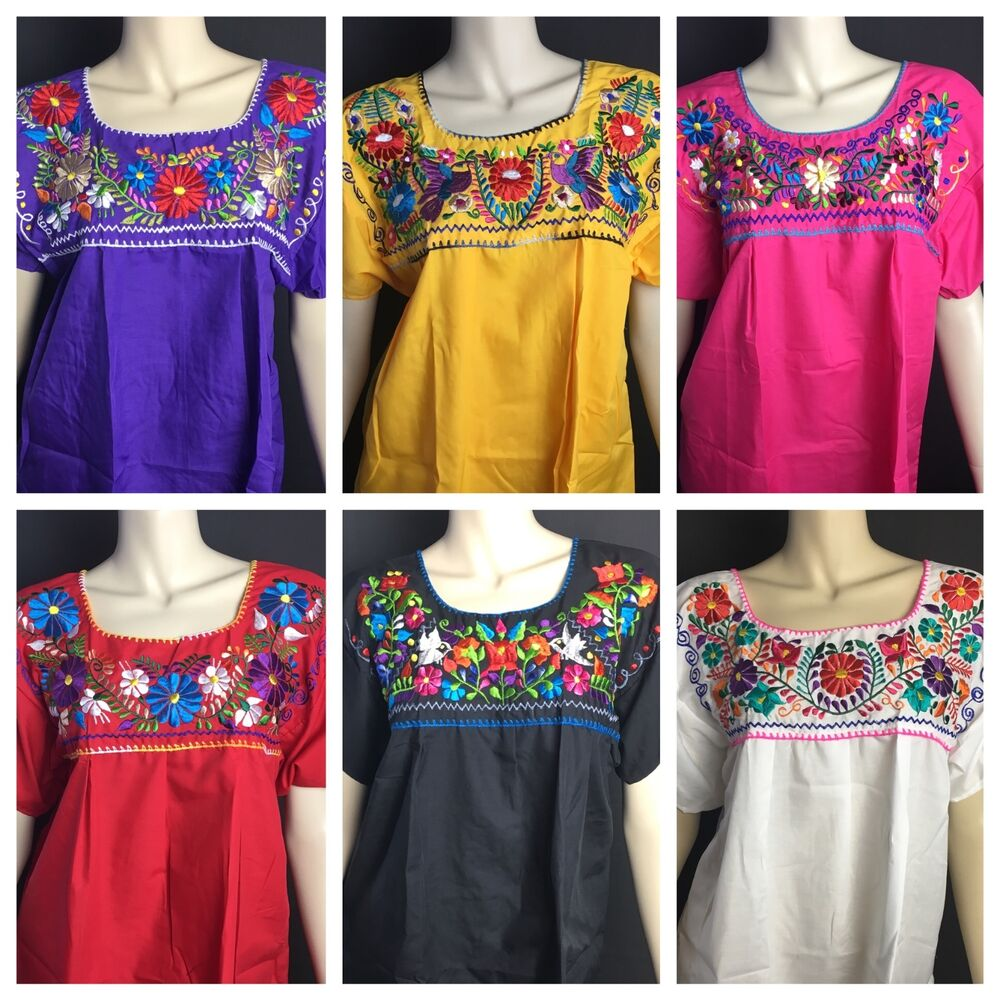 WOMENS PEASANT EMBROIDERED MEXICAN HANDMADE BLOUSE ...