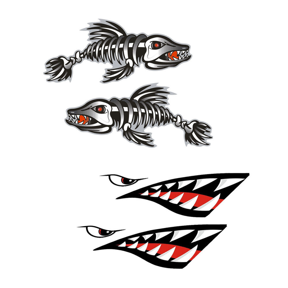 4x Kayak Decals Fish Skeleton Shark Mouth Fishing Boat Car